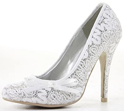 Womens Bridal Silver Satin Party Ladies Wedding Shoes Size 3 4 5 6 ...