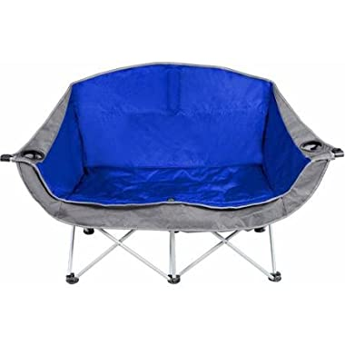 Blue and Gray Ozark Trail 2-person Padded Club Chair. This Steel Framed, Polyester Made Chair Is Easy Assembled, Easily Stored, and Very Convenient. Can Be Use for Camping, Outdoor Activities, Sport Events and Festivities.