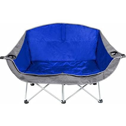 Blue and Gray Polyester Made Padded Club Chair Ozark Trail 2-person Steel Framed