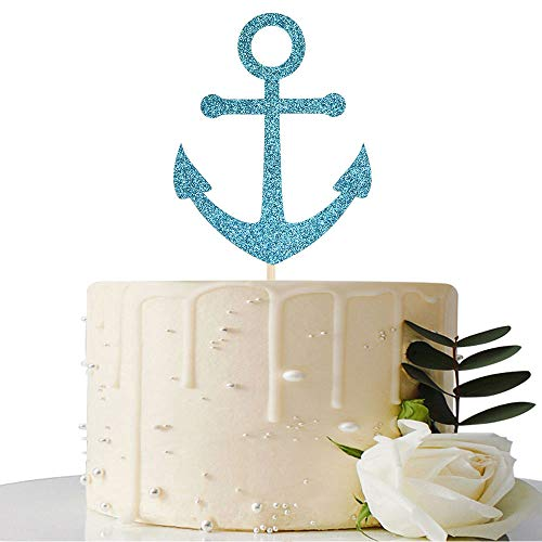 Blue Glitter Ship Anchor Cake Topper - for Baby Shower/Nautical Themed Party/Navy Themed Bon Voyage/Navy Wedding Party Decorations -
