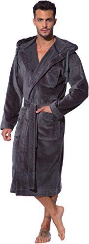 Bugatti, Bademantel Herren mit Kapuze, grau ( dunkelgrau ), 100 % Baumwolle
