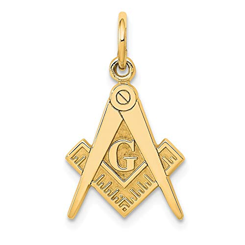 14k Yellow Gold Masonic Freemason Mason Pendant Charm Necklace Career Professional Man Fine Jewelry Gift For Dad Mens For Him ()