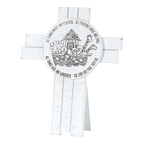 Dicksons The Lord God Made Them All Noah's Ark Tabletop/Wall Cross, White