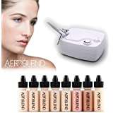 Aeroblend Airbrush Makeup Personal Starter Kit - Professional Cosmetic Airbrush Makeup System - LIGHT Foundation - Color Match Guarantee
