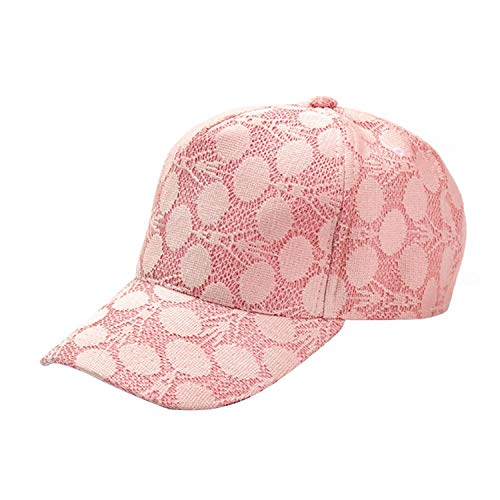 (Lace Sun Hats Summer Cap Snapback Baseball Caps New Women Breathable Mesh Hat for Women Pink)
