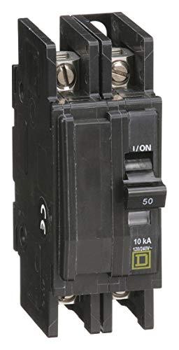 Square D Unit Mount Circuit Breaker, QOU, Number of Poles 2, 50 Amps, 120/240VAC, Standard
