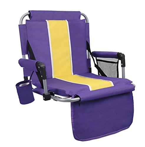 ALPHA CAMP Stadium Seat Chair for bleacher with Arms and Side Pocket Purple Yellow