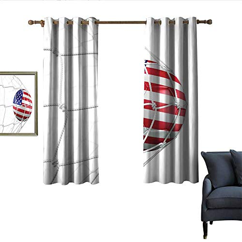 longbuyer Sports Decor Queen Size Decor Curtains USA American Flag Printed Soccer Ball in a Net Goal Success Stylized Artwork Blackout 55