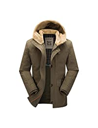 K3K Cotton Winter Mens Casual Hooded Warm Bomber Coat Overcoat Jacket