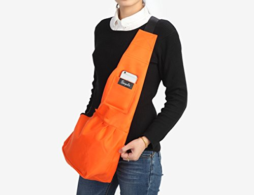 Sepnine 190D Nylon Waterproof Pet Carrier Shoulder Bag With Extra Pocket for Cat Dog And Small Animals Orange (S)