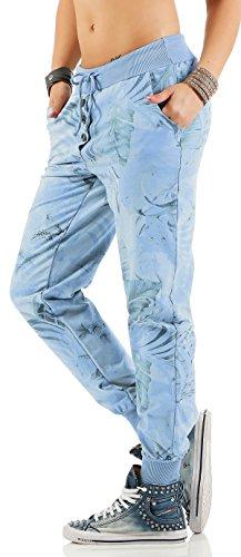 ZARMEXX Sweatpants Sweatpants Sweatpants pantalones de las mujeres Relax Fit Pant impresión de la selva azul claro