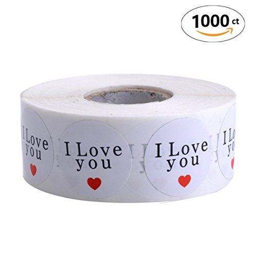 Red Heart Labels (TECH-P Creative Life 1 Inch Round Natural Paper Stickers with Red Heart- 1,000 Adhesive Label Per Roll (1 Roll I Love You))