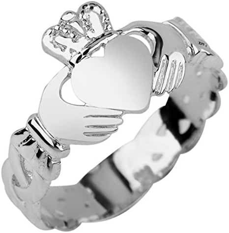 Ladies 925 Sterling Silver Claddagh Ring with Trinity Band