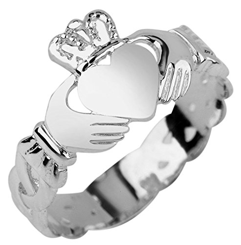 Ladies 10K White Gold Claddagh Ring with Trinity Band ()