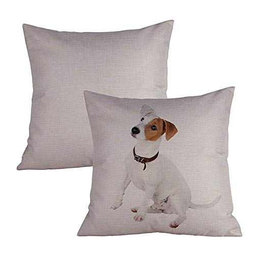 Acelive 20 X 20 Inches Square Cotton Linen Russell Terrier Breed Series Decorative Pillowcase Cushion Cover for Sofa Throw Pillow Case