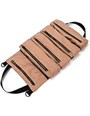 TOOGOO Super Tool Roll, Large Wrench Roll, Big Tool Roll Up Bag, Canvas Tool Organizer Bucket, Tool Roll Up Pouch, Handy Small Tools Tote Carrier,Tool Pouch Sling