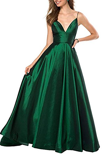 Womens Spaghetti Strap V Neck Prom Dresses Long 2019 A-line Satin Formal Evening Ball Gowns with Pockets Green