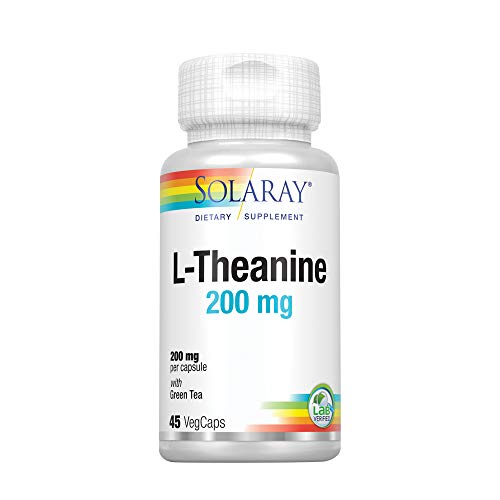 Solaray® L-Theanine 200mg w/Green Tea Leaf 100mg | Relaxation, Stress, Mood & Focus Support w/Out Drowsiness | Lab Verified | 45 VegCaps