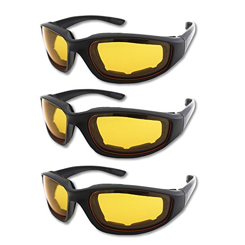 278c1383b5 Galleon - 3 Pair Motorcycle Riding Glasses Padding Goggles UV Protection  Dustproof Windproof Motorcycle Sunglasses With Yellow Lens For Outdoor  Sports ...