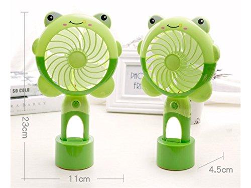 Yunqir Compatible Creative Mini USB Fan Child Student Portable Handheld Fan Lovely Desk Fan Mirror Lamp Gift Kids(Green Frog)