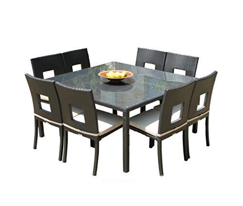 MangoHome Nicole 9-Piece Square Dining Set. Outdoor Powder Coated Aluminum Patio Furniture (Set Dining Nicole)
