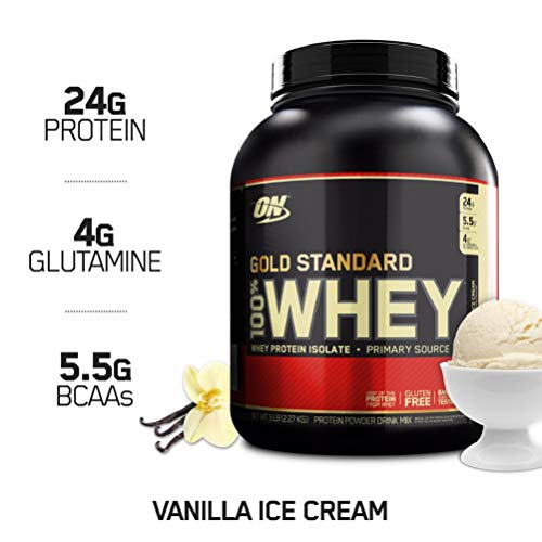 OPTIMUM NUTRITION GOLD STANDARD 100% Whey Protein Powder, Vanilla Ice Cream, 5 Pound ()
