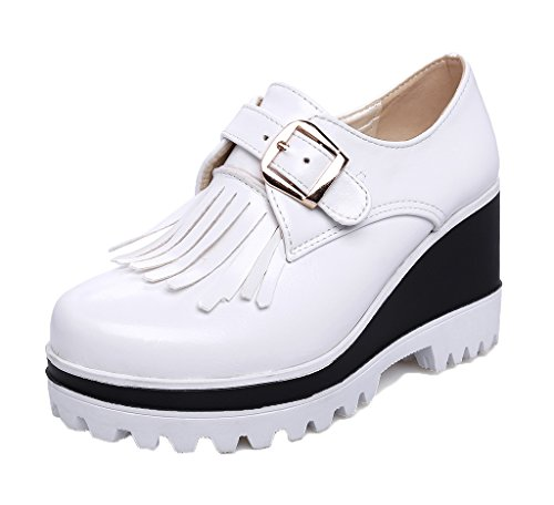 Solid On Heels Shoes Pumps Odomolor Pull Women's Round White PU Toe High Twx87xnpS