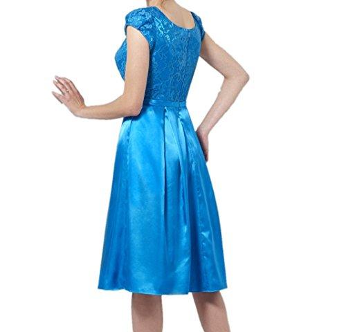 Royaldress Elegant Blau SPitze Kurzarm Abendkleider Brautmutterkleider Partykleider Wadenlang Kurz Ballkleider