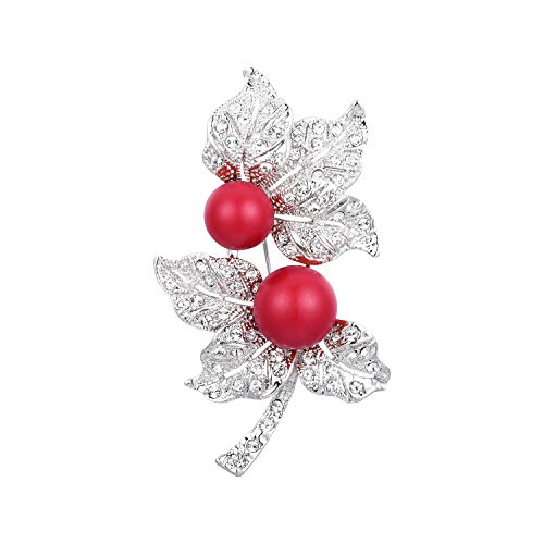 - RAINBOW BOX Red Pearl Brooch Pins with Swarovski Crystal Jewelry Fashion Women's Brooches & Pins