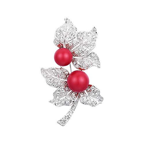 Jewelry Crystal Fashion Pin Swarovski - RAINBOW BOX Red Pearl Brooch Pins with Swarovski Crystal Jewelry Fashion Women's Brooches & Pins