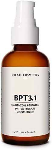 BPT3 - Acne Treatment 3% Benzoyl Peroxide Cream & Tea Tree Oil Moisturizer for Face & Body - Blemish & Spot Treatment, Cystic Acne Medication for Adult & Teen - 2.2. fl.oz