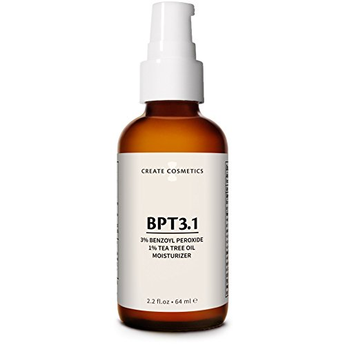 Create Cosmetics BPT3 - Acne Treatment 3% Benzoyl Peroxide Cream & Tea Tree Oil Moisturizer for Face & Body - Blemish & Spot Treatment, Cystic Acne Medication for Adult & Teen - 2.2. fl.oz