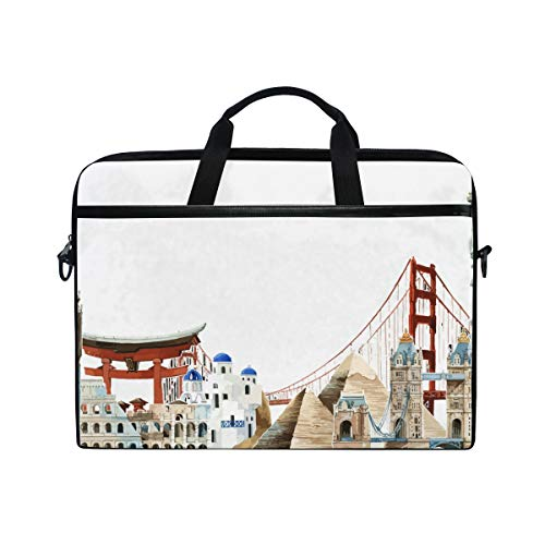Watercolor Architectural Landmarks Around The World Multifunctional Laptop Briefcase Tablet Bag Tote Computer Case Handbag Pouch for Men Women ()