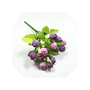 Artificial Flowers 15 Heads Mini Rose Colorful Silk Flowers Artificial Flower Home Decor for Wedding Small Roses Bouquet Decoration Display Flower,E 68
