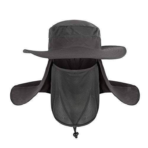 IronSeals Outdoor UV Sun Protection Fishing Cap, Sun Hat Wide Brim, Sun Protection Removable Neck Flap, Face Cover Mask, Military Boonie Hat for Outdoor Sports & Travel Dark Grey ()