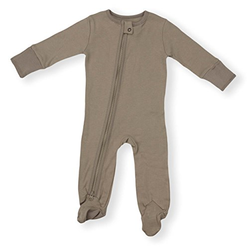 Organic Baby Sleeper 2-Way Zipper Pajamas Boy Girl (9 Sizes: Preemie-3T) 100% Organic Cotton (6M- Footed, Earth Grey)