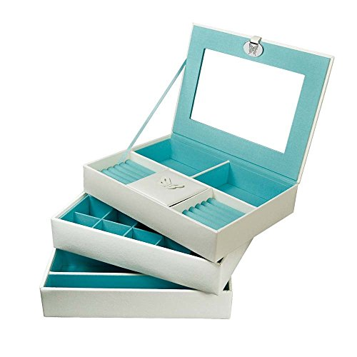 Ikee Design White Leather-Like Jewelry 3 trays Boxes 10 1/4