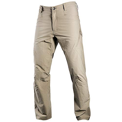 FREE SOLDIER Men's Outdoor Quick Drying Tactical Pants Summer Breathable Stretch Cargo Trousers Lightweight Hiking Fishing Sun Pants (Mud Color, 34W)