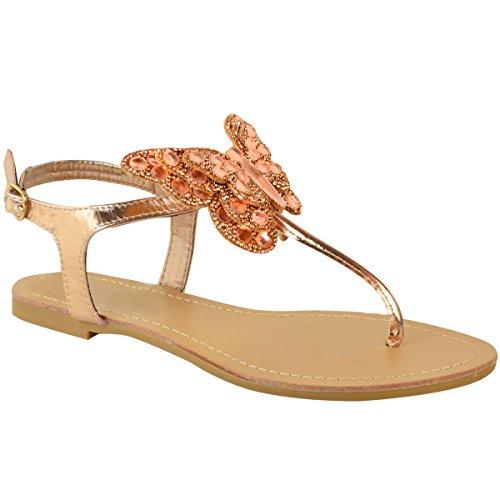 Moda Sedosa Para Mujer Plana T-bar Diamante Sandalias Zapatos De Punta De Dedo Del Verano Tamaño Rose Gold Metallic