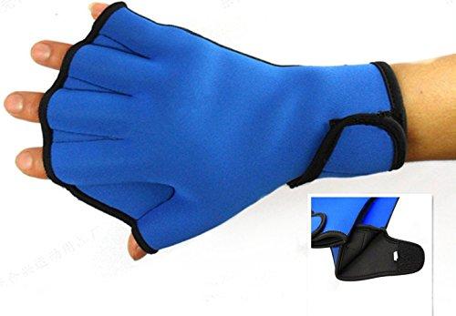 Dooki, Wasserdicht Neopren Webbed Handschuhe Schwimmen Aqua Fit Trainingsübung Flippers Paddel Schwimmhandschuhe, Blau (Mittel)