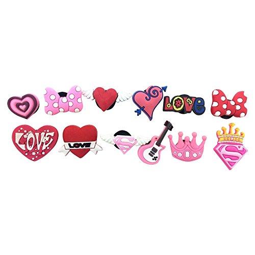 12 Heart-shaped Crown Bowknot Shoe Charms for Croc & Wristband Bracelet