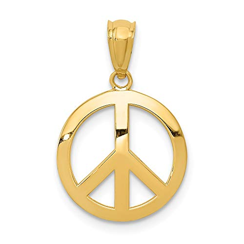 14k Yellow Gold Peace Sign Circle Pendant Charm Necklace Fine Jewelry Gifts For Women For Her
