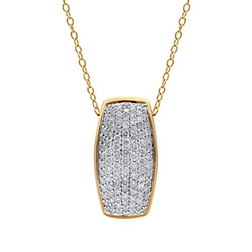 1/2 Carat Natural Diamond Pendant Necklace 10K Yellow Gold (I-J Color, I3 Clarity) Multi-Row Diamond Pendant Necklace for Women Diamond Jewelry Gifts for Women
