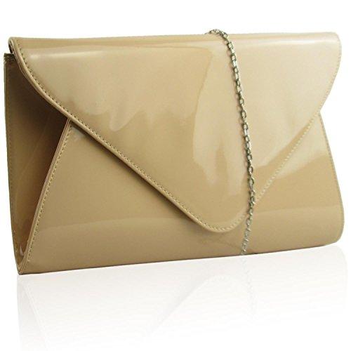 Nude plate d'embrayage enveloppe soirées Bags Zarla UK les Femme Brevet Motif Evening pour ARUq5F7wnw