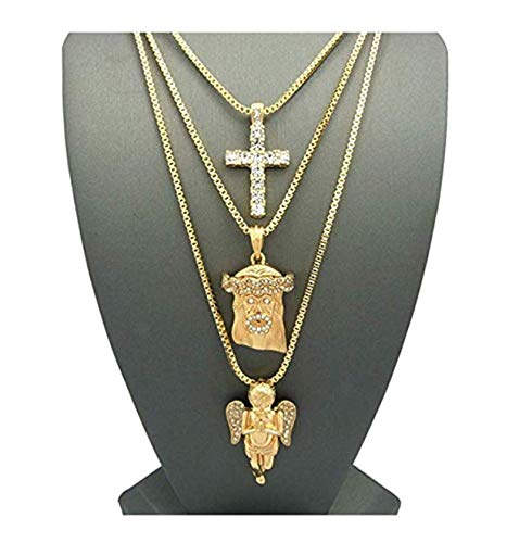 ICE BOX Holy Angel Necklace Set. Jesus Face, CZ Diamond Cross, Christian Jesus Christ Piece 14K Gold Plated Chain Set. Hip Hop Bling Jewelry. 24
