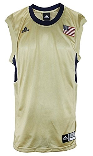 - Adidas Men's Blank Basketball Jersey with USA Flag, Gold-Navy