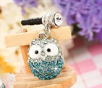 CJB Dust Plug / Earphone Jack Accessory Elegant Blue Owl Rhinestone for iPhone 4 4S 5 6 Plus S6 All Device with 3.5mm Jack (US - Cell Phone Charms Crown