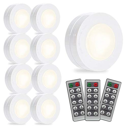 SOLLED Wireless LED Puck Lights, Kitchen Under Cabinet Lighting with Remote Control, Battery Powered Dimmable Closet Lights, 4000K Natural Light-9 Pack