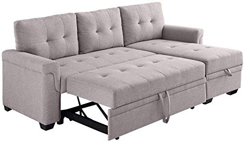 LILOLA Lucca Light Gray Fabric Reversible Sleeper Sofa Storage Chaise