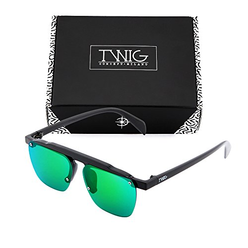 espejo degradadas hombre Gafas de TWIG FOUCAULT Negro mujer Verde sol XaFqS